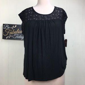 NWT Faded Glory Black Lace Yolk Top 3X